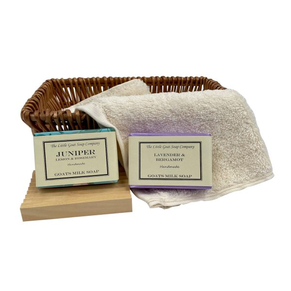 2 Soap Gift Basket with Wooden Soap Rack