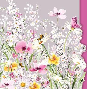 Pink Flowers and Bees - Birthday