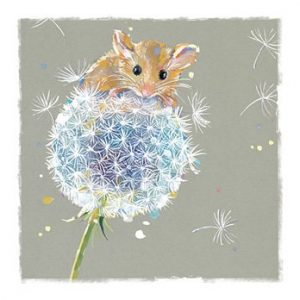 Mouse on a Dandelion - Blank for your own message