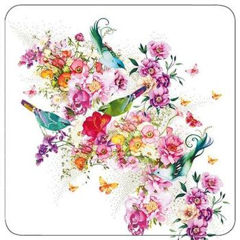 Blue Birds and Flowers - Blank for your own message